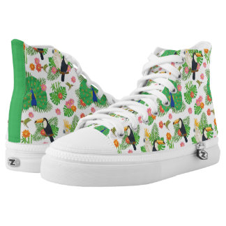 Tucan And Peacock Pattern High Tops