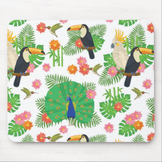 Tucan And Peacock Pattern Mouse Mat
