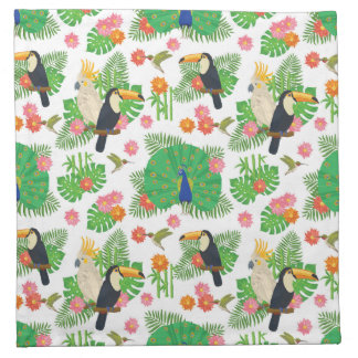 Tucan And Peacock Pattern Napkin