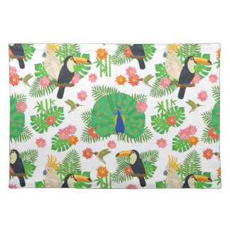 Tucan And Peacock Pattern Placemat