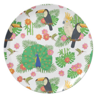 Tucan And Peacock Pattern Plate