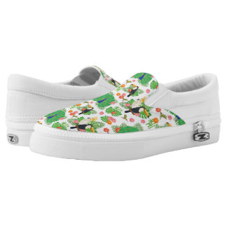 Tucan And Peacock Pattern Slip-On Shoes