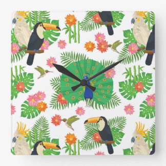 Tucan And Peacock Pattern Square Wall Clock