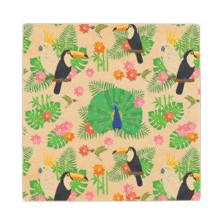 Tucan And Peacock Pattern Wood Coaster