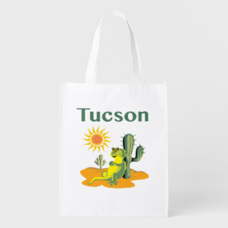 Tucson Arizona Lizard under Saguaro Reusable Grocery Bag