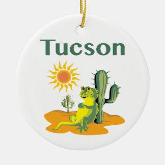 Tucson Arizona Lizard under Saguaro Round Ceramic Decoration