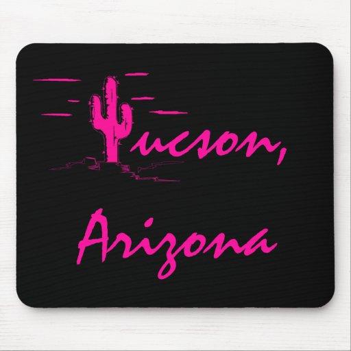 Tucson Arizona Neon Desert Nights Saguaro Cactus Mousepad