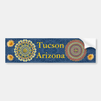 Tucson Bumper Sticker with Barrel Cactus Mandalas
