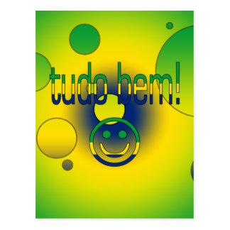 Tudo Bem! Brazil Flag Colors Pop Art Post Cards