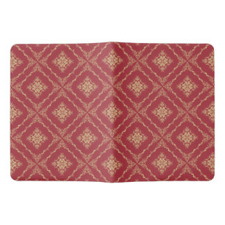 Tudor Inspired Gold and Red Fractal Diamond Design Extra Large Moleskine Notebook