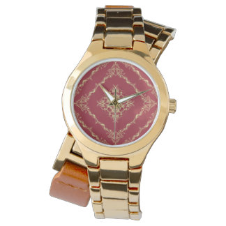 Tudor Inspired Gold and Red Fractal Diamond Design Watch