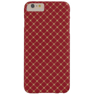 Tudor Red and Gold Criss-Cross Pattern Barely There iPhone 6 Plus Case