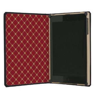 Tudor Red and Gold Criss-Cross Pattern iPad Mini Covers