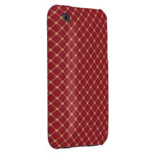 Tudor Red and Gold Criss-Cross Pattern iPhone 3 Cases