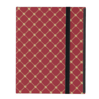 Tudor Red and Gold Criss-Cross Pattern iPad Cases