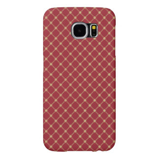 Tudor Red and Gold Criss-Cross Pattern Samsung Galaxy S6 Cases