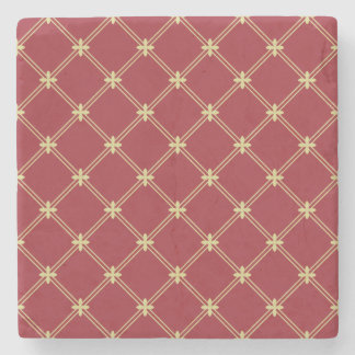 Tudor Red and Gold Criss-Cross Pattern Stone Coaster