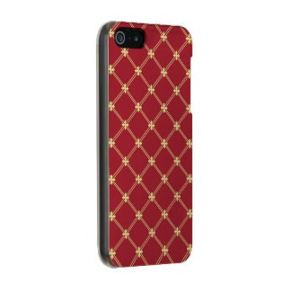 Tudor Red and Gold Diamond Pattern Incipio Feather® Shine iPhone 5 Case