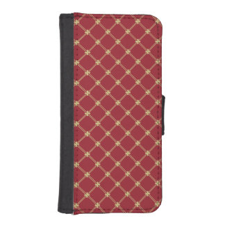 Tudor Red and Gold Pattern iPhone SE/5/5s Wallet Case