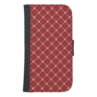 Tudor Red and Gold Pattern Samsung S4 Wallet Case