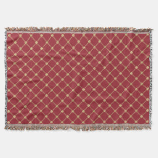 Tudor Red and Gold Pattern Throw Blanket
