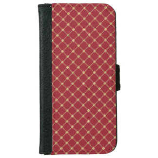 Tudor Red and Gold Pattern iPhone 6 Wallet Case
