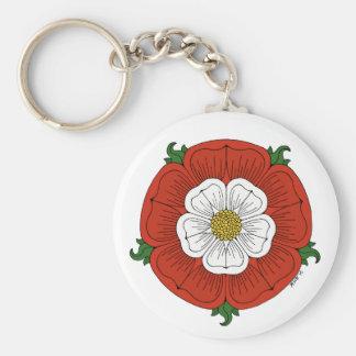 Tudor Rose Basic Round Button Key Ring