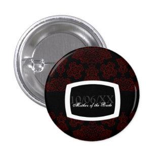 Tudor Rose Damask (Red) Wedding 3 Cm Round Badge