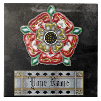 tudor rose family custom large square tile