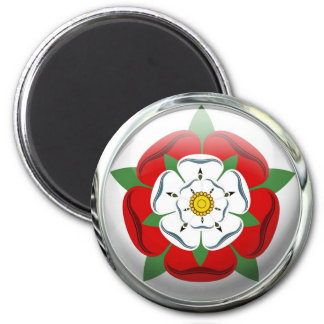 Tudor Rose Flag Glass Ball 6 Cm Round Magnet