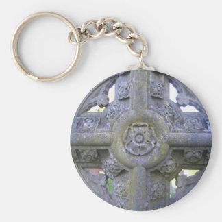 Tudor Rose Gravestone Basic Round Button Key Ring