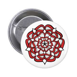 Tudor Rose Mandala Red 6 Cm Round Badge