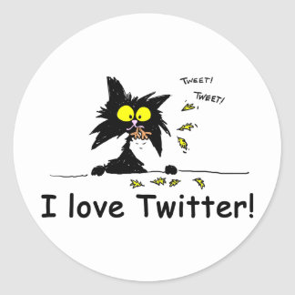 Tuff Kitty loves Twitter Classic Round Sticker