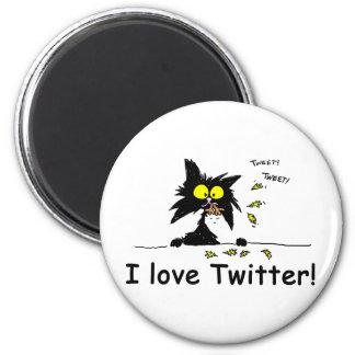 Tuff Kitty loves Twitter Fridge Magnet