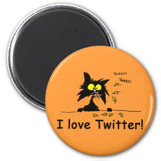 Tuff Kitty loves Twitter Fridge Magnets