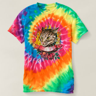 Tuff Kitty Tie-Dye T-Shirt, Rainbow Swirl T-Shirt