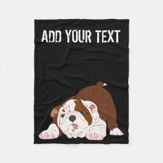 Tuff Pup Playful Bulldog Puppy Fleece Blanket