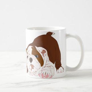 Tuff Pup Playful Bulldog Puppy Basic White Mug