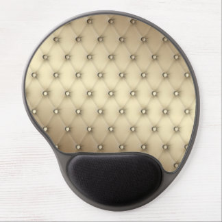 Tuft Taupe Leather Buttons Beige Ecru Buckskin Gel Mouse Pad