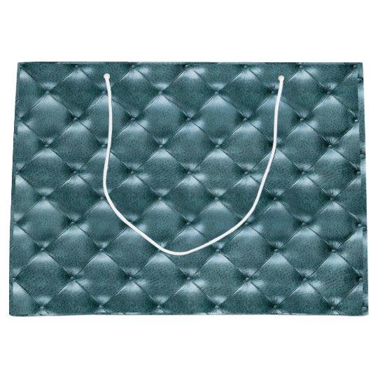 Tufted Leather Metallic Tiffany Aquatic Blue Large Gift
