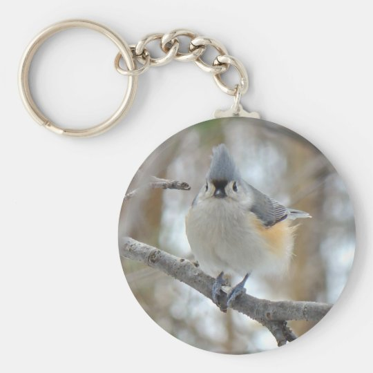 Tufted Titmouse (Baeolophus bicolor) Items Basic Round Button Key Ring