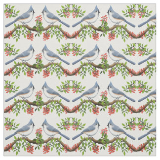 Tufted Titmouse Birds with Berries Fabric