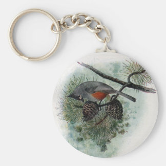 Tufted Titmouse Perched on Pinecone Basic Round Button Key Ring