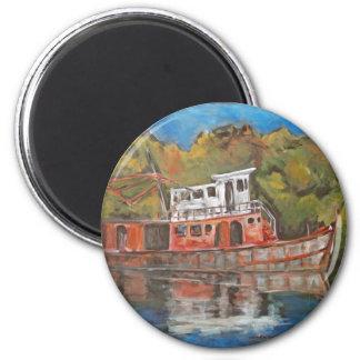 Tug Boat 6 Cm Round Magnet