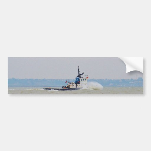 Tug Boat Battling Wind And Tide Bumper Stickers