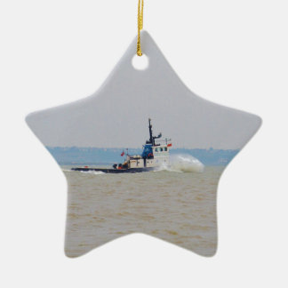 Tug Boat Battling Wind And Tide Christmas Ornament