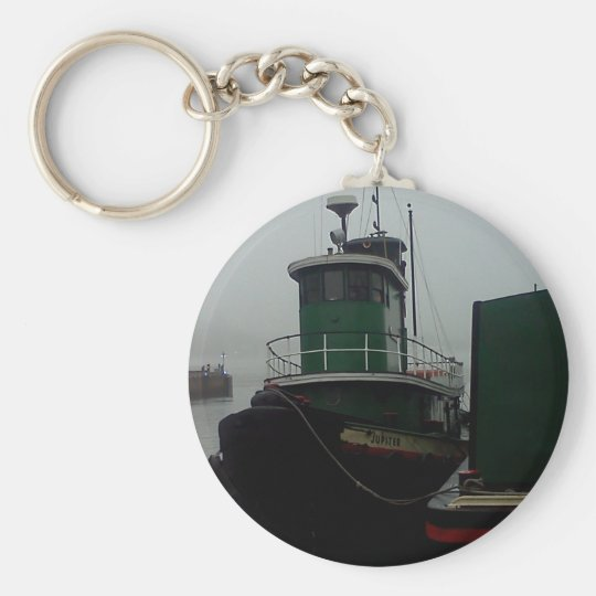 Tug Boat Foggy Day in Philly Basic Round Button Key Ring