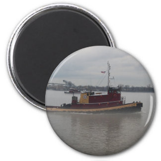 Tug Boat in the Fog 6 Cm Round Magnet