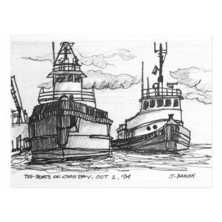 Tug Boats on Coos Bay, Oregon Postcard