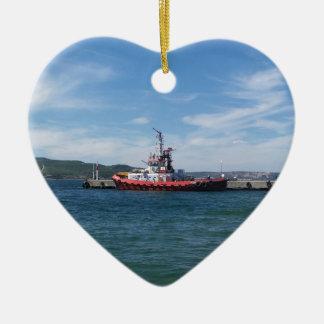 Tug In Harbor Ceramic Heart Decoration